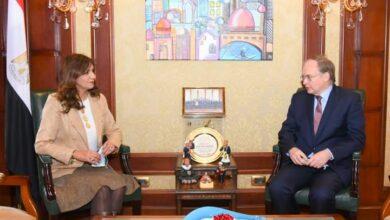 صورة وزيرة الهجرة تستقبل سفير الاتحاد الأوروبي بالقاهرة لبحث سبل التعاون وتبادل الخبرات